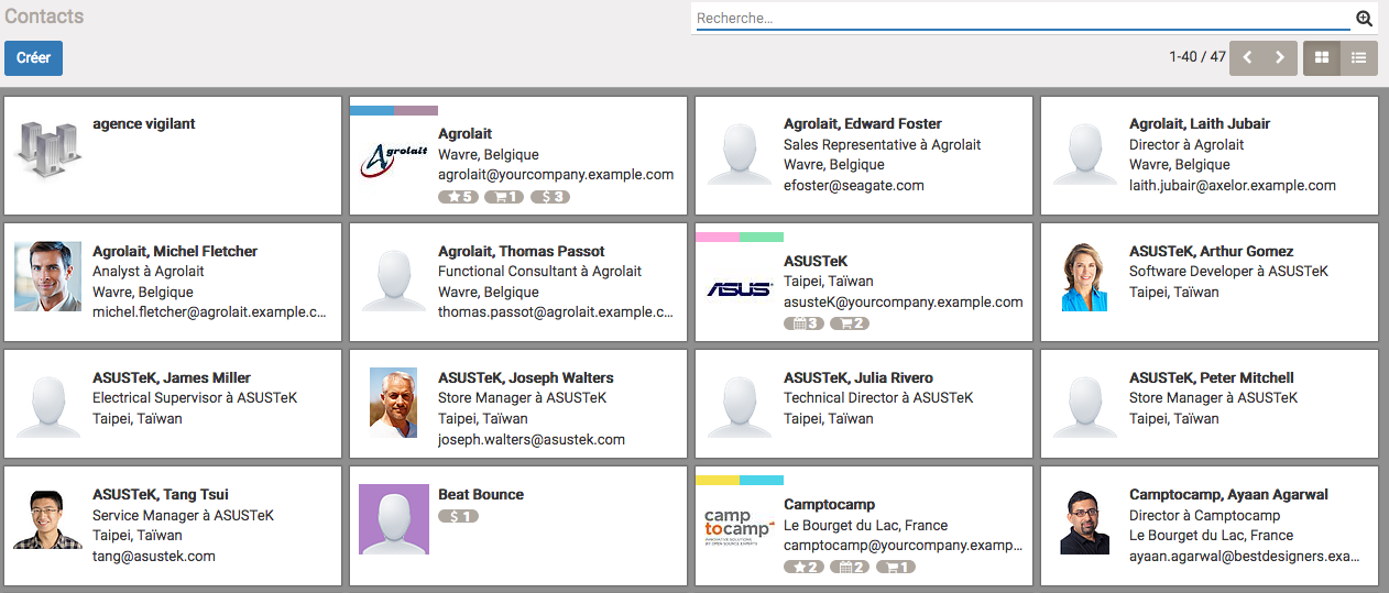 apercu de la liste des contacts sur Odoo 10 Community